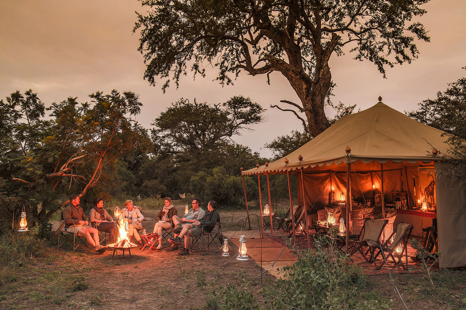 Tanda Tula Field Camp - sitting around the fire on safari in South Africa